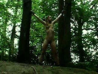 claudie Bindung im Wald und gefickt