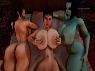 Trishka wird gefickt, während soria und lara croft beobachten