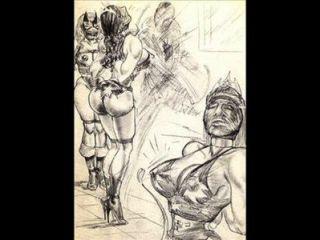 Amazonen dominieren Mixed Wrestling lesbischen Ringen Kunst Comics