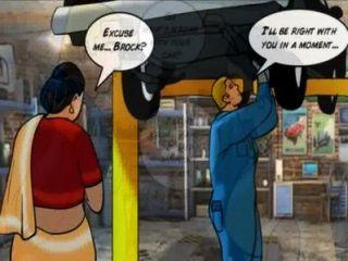 velamma Folge 42: velamma wird fettig und schmutzig mit der Mechanik!