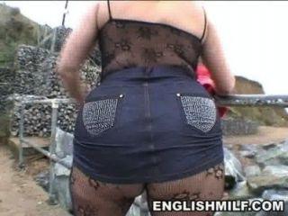 Big Butt Englisch Milf in bodystocking öffentlichen ass