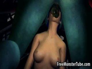 blauen Haaren 3d Honig saugt und fickt einen monsternhostility-high 2