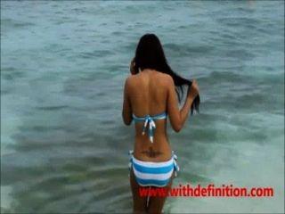 asiatische Hündin am Strand - hot