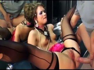 Glamour Sex in Oberschenkel hohe Strümpfe und Handschuhe