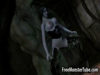 vollbusige 3d brunette Babe von einem monsterverted hohen 2 gefickt