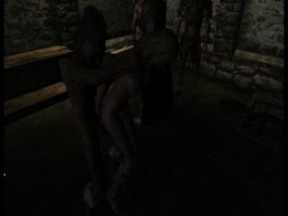 Wachen lassen die Städter ihren Weg mit dem neuen Gefangenen haben