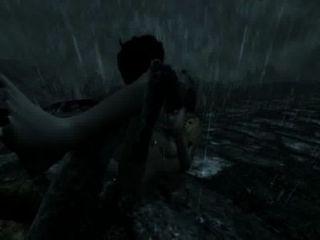 Skyrim - weibliche Drachen geschlagen und am Straßenrand verletzt