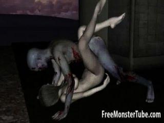 3D Cartoon-Zombie-Baby immer geleckt und gefickt