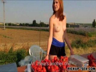 Erdbeer-Anbieter blinkt Titten und ohne Knochen, Geld zu verdienen