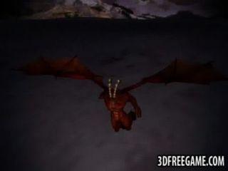 3d Rotschopf wird von einem geflügelten Dämon hart gefickt