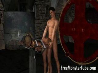 verhaltene 3d blonde Babe wird von einem Vampir gefickt