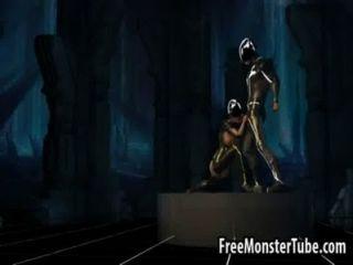3D-Comic-tron Babe saugt Hahn und wird gefickt