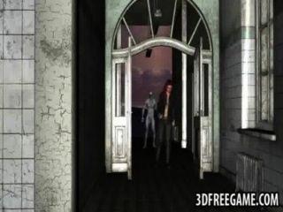 sexy 3d Rotschopf Babe von einem Zombie hart gefickt
