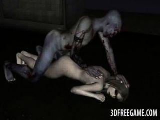 yummy 3D-Comic-Zombie-Füchsin hart gefickt
