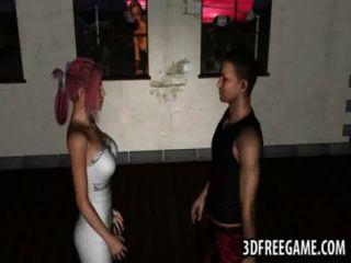sexy 3D-Comic-Zombie Babe reitet einen harten Schwanz