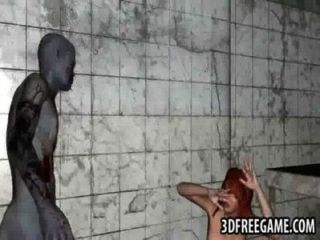 foxy 3d Rotschopf Babe Zombies harten Schwanz Reiten