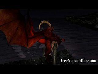3d Cartoon Babe wird im Freien von einem geflügelten Dämon gefickt