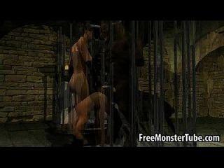 3d babe saugt hahn und wird von einem Werwolf gefickt
