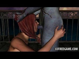 3d babe saugt hahn und wird von einem zombie gefickt