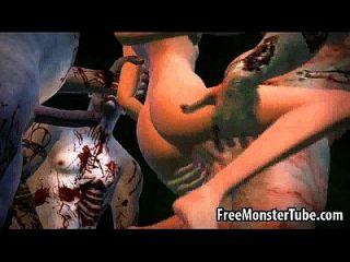 3d cartoon babe bekommt gang schlug von einigen zombies