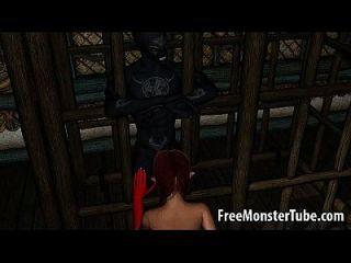 Hot 3d Redhead Babe saugt und fickt einen geilen Dämon