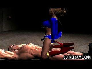 3d supergirl wird von einem muskulösen stud gefickt pussy