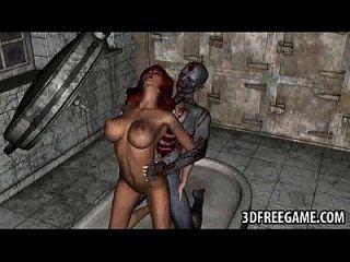 3d babe gefickt in einer Leichenhalle von einem geilen Zombie