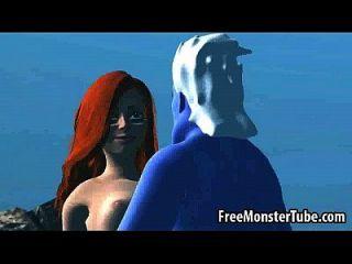 3D Cartoon Ariel immer unter Wasser von ursula gefickt