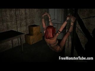 gefesselt und geknebelt 3d redhead babe wird hart gefickt