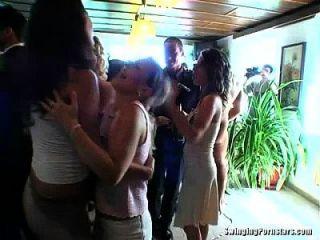 elegante Hündinnen nehmen Schwänze bei einer Hochzeit