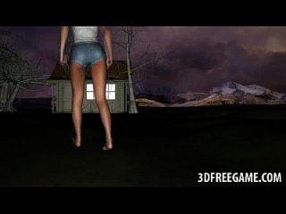 3D Redhead Babe wird im Freien von einem Zombie gefickt