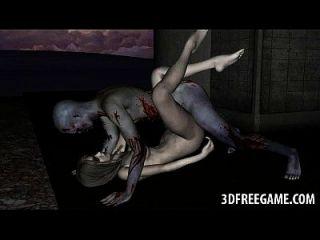 sexy 3d Zombie Babe bekommt ihre Muschi geleckt und gefickt