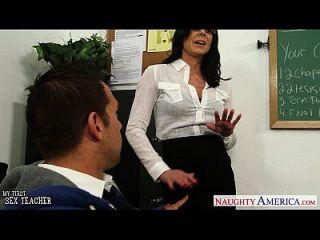 Brünette Lehrer Kendra Lust wird facialisiert