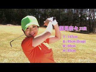 asiatische teen Mädchen spielt Golf nackt