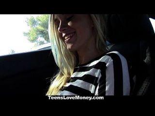 teenslovemoney heiße Blondine wird abgeholt, bezahlt und gefickt