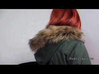 spanisch redhead babe von der öffentlichen schlange pov
