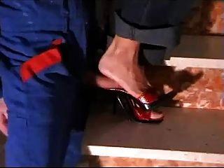 roten High Heel Pantolette