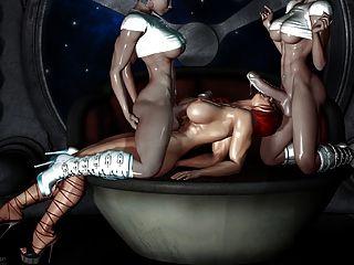 sexy 3D-Kunst - 2 Transvestiten ein Mädchen (sehr heiß) ficken