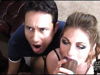Hahnrei seine Schlampe Frau beobachtete von schwarzen Stier Zucht