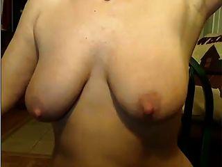 52 Jahre alte Frau auf dem frechen auf Webcam ...