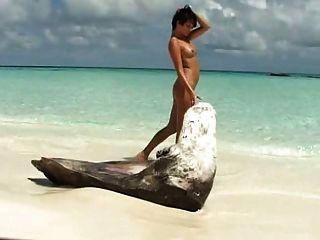 Brünette Mädchen spielt mit ihren rasierten pussie am Strand