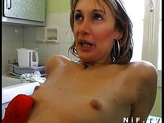 Amateur französisch Paar in 3some anal fucking mit Papy Voyeur