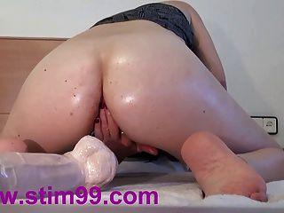 extreme Doppel ficken Löcher große Dildos Muschi und anal