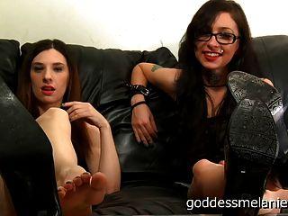 Fußfetisch Demütigung pov von zwei Domina Göttinnen