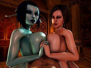 soria und Trishka Doppel tittyfuck (3d)