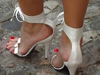 weiße High Heels Sandalen