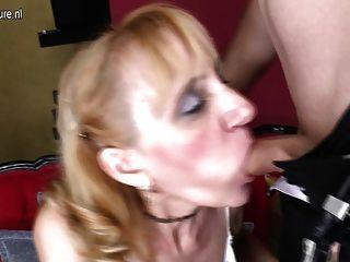 reife Schlampe Mutter von Jungen gefickt und bekommt Gesicht