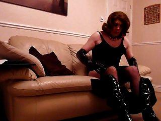 sexy Transe in PVC und Strumpfhosen Wichsen
