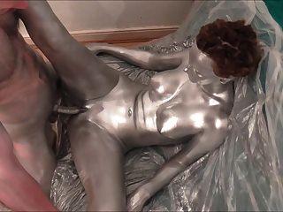 Silber Körperfarbe Sex und Solo-Anhänger