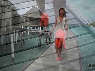 niedliche Mädchen necken Walking & upskirt in High Heels maldives